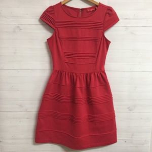 Elle Pleated Cap Sleeve Fit and Flare Dress